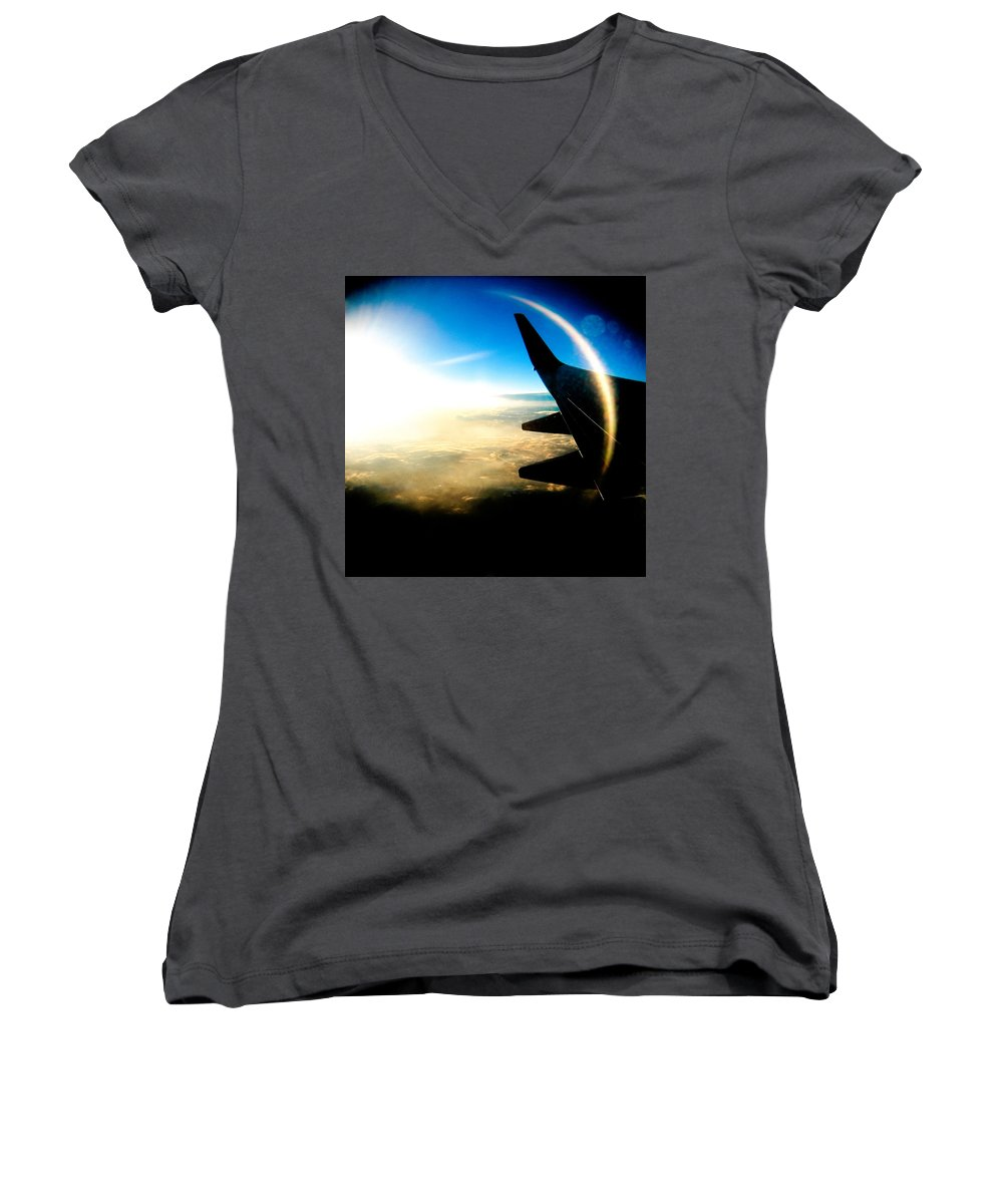 Plane Sky Sun Holga Color Photograph Women's V-Neck T-Shirt featuring the photograph Fly Like A Dolphin by Olivier De Rycke