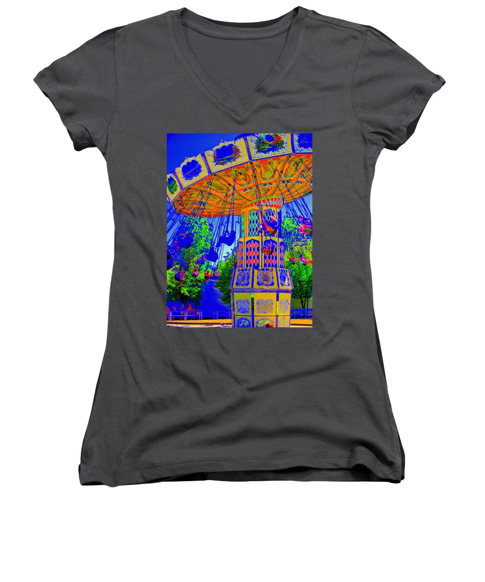 Flying High Women's V-Neck T-Shirt featuring the photograph Flying High by Ed Smith