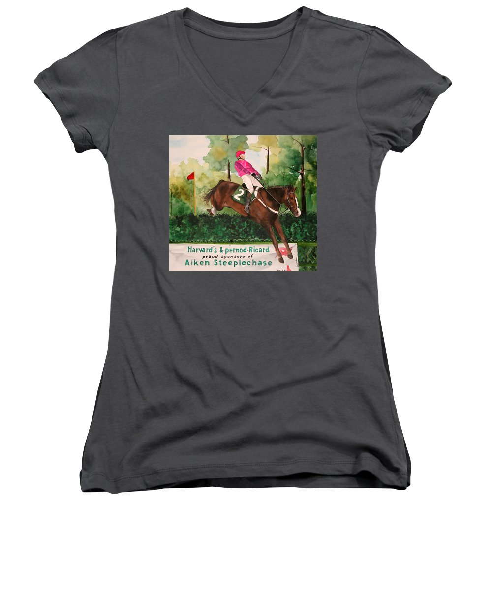 Horse Women's V-Neck T-Shirt featuring the painting Flying High by Jean Blackmer