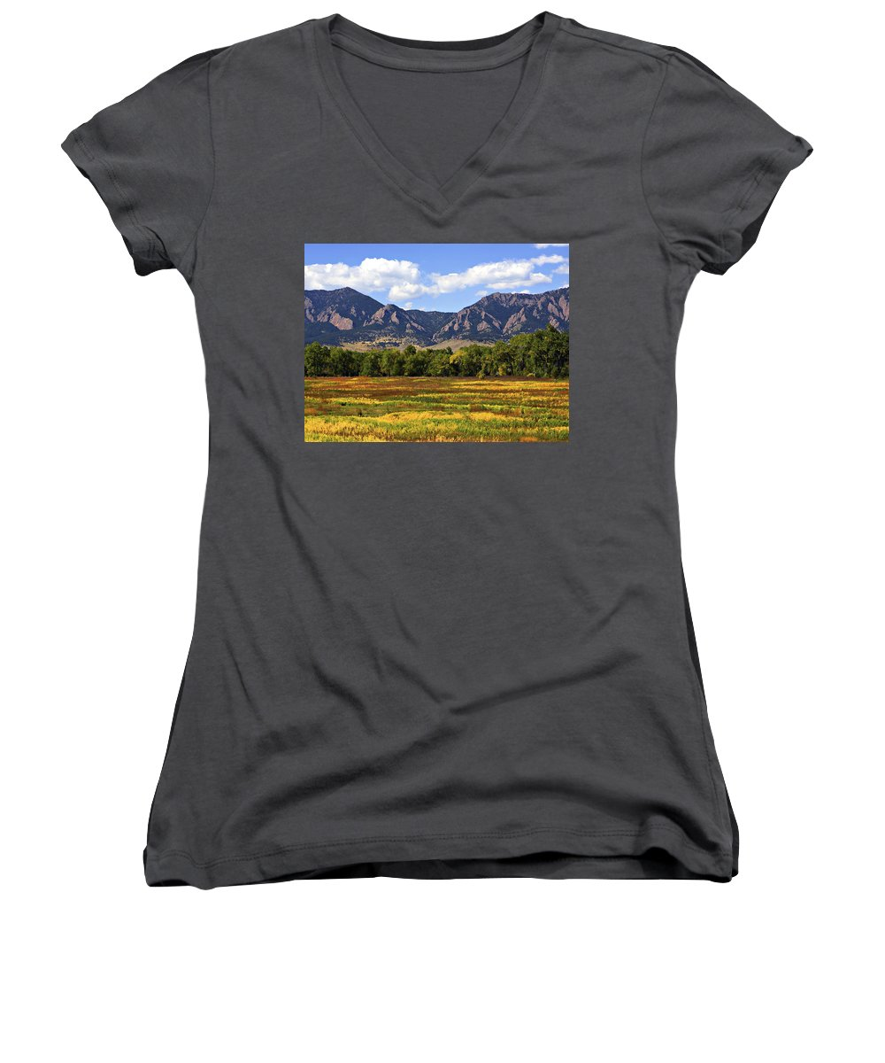 Fall Women's V-Neck (Athletic Fit) featuring the photograph Foothills Of Colorado by Marilyn Hunt