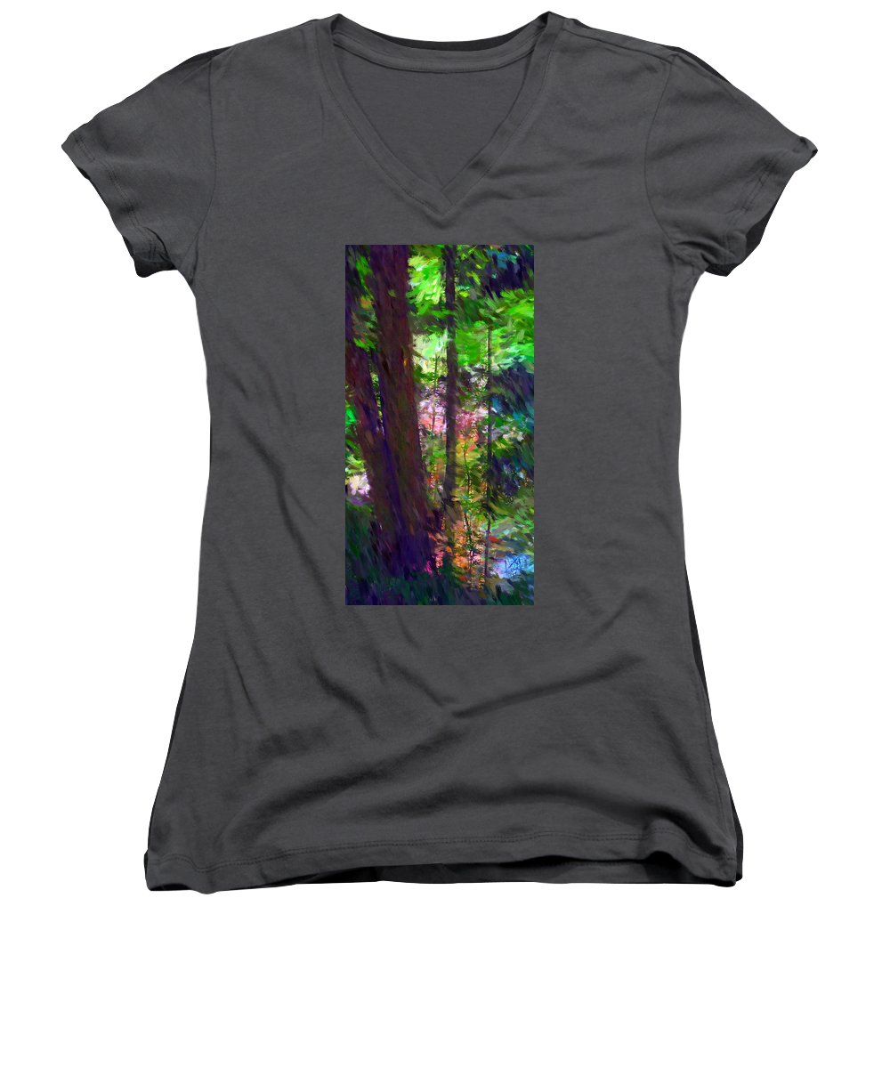 Digital Photography Women's V-Neck T-Shirt featuring the digital art Forest For The Trees by David Lane
