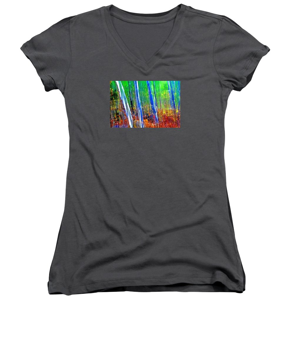 Forest Women's V-Neck T-Shirt featuring the photograph Forest Magic by Bill Morgenstern