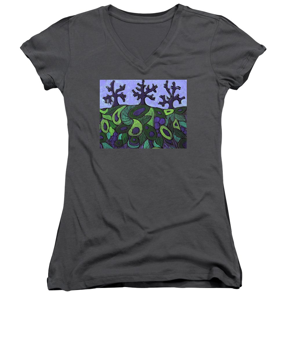 Forest Women's V-Neck T-Shirt featuring the painting Forest Royal by Wayne Potrafka