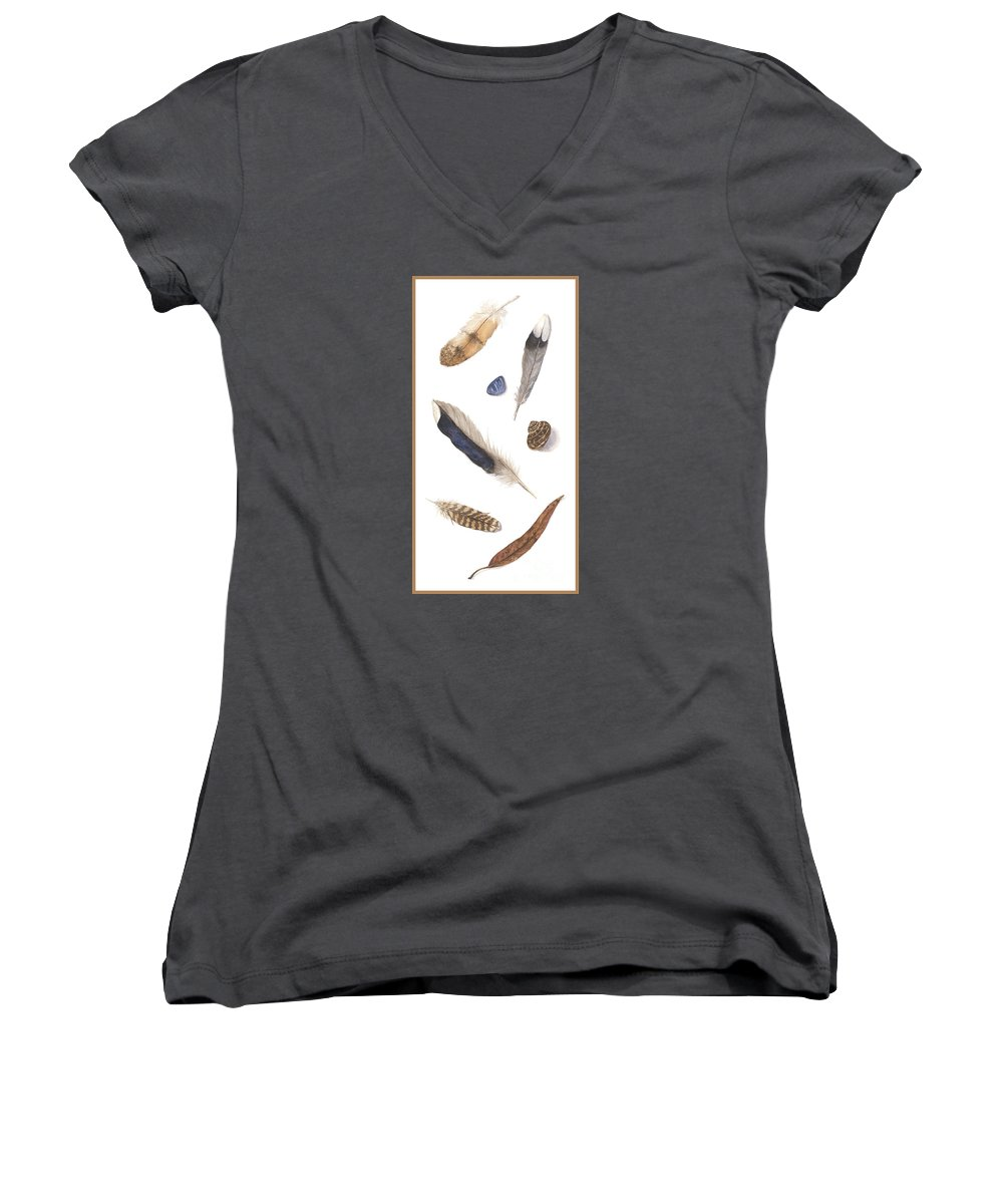 Feathers Women's V-Neck T-Shirt (Junior Cut) featuring the painting Found Treasures by Lucy Arnold