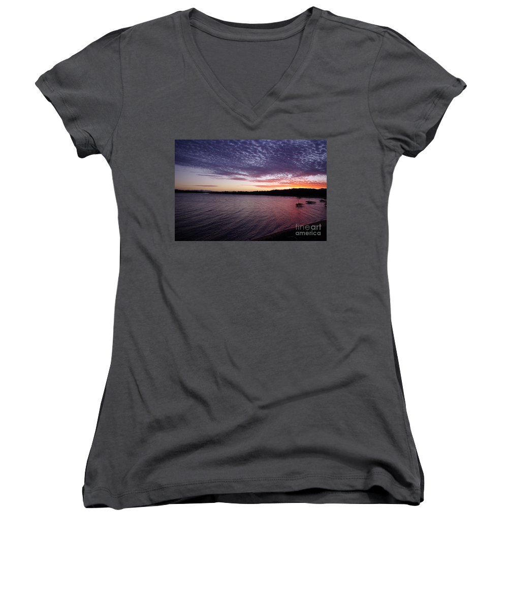 Landscape Women's V-Neck (Athletic Fit) featuring the photograph Four Elements Sunset Sequence 4 Coconuts Qld by Kerryn Madsen- Pietsch