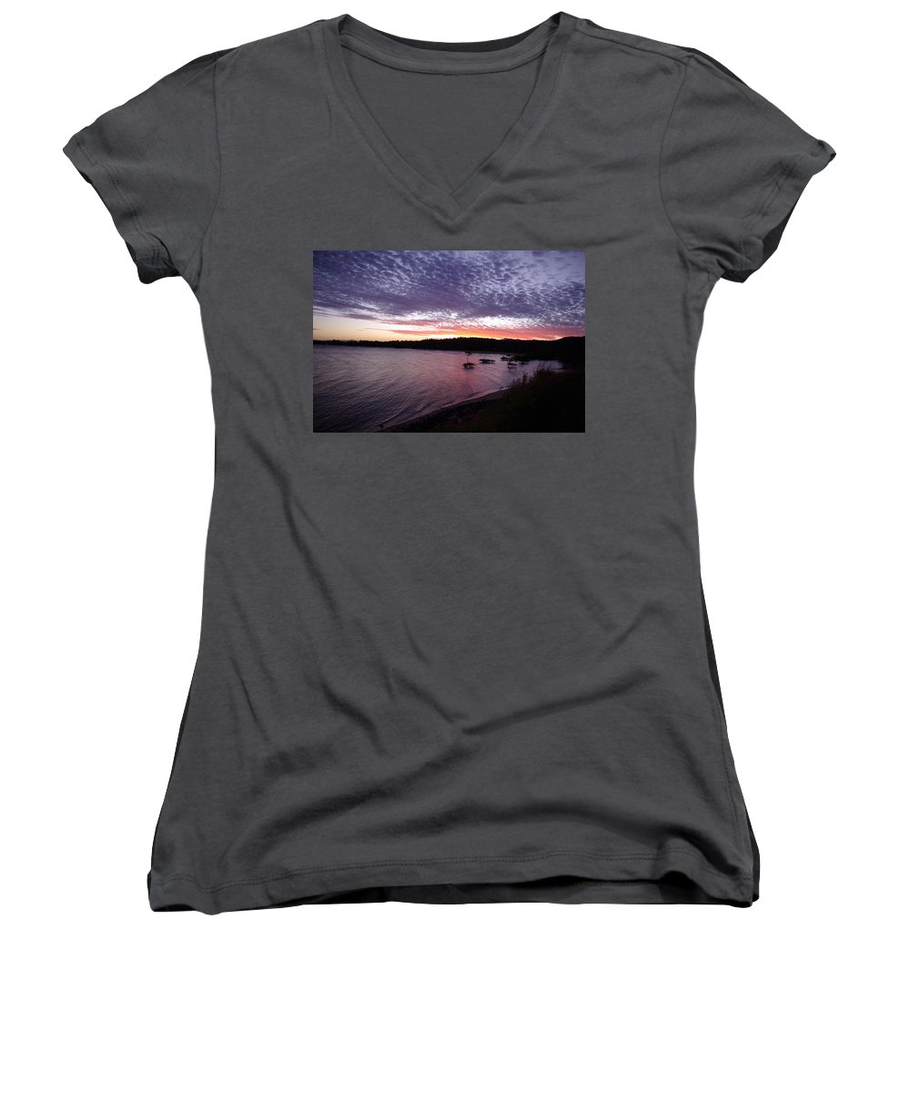 Landscape Women's V-Neck T-Shirt featuring the photograph Four Elements Sunset Sequence 6 Coconuts Qld by Kerryn Madsen-Pietsch