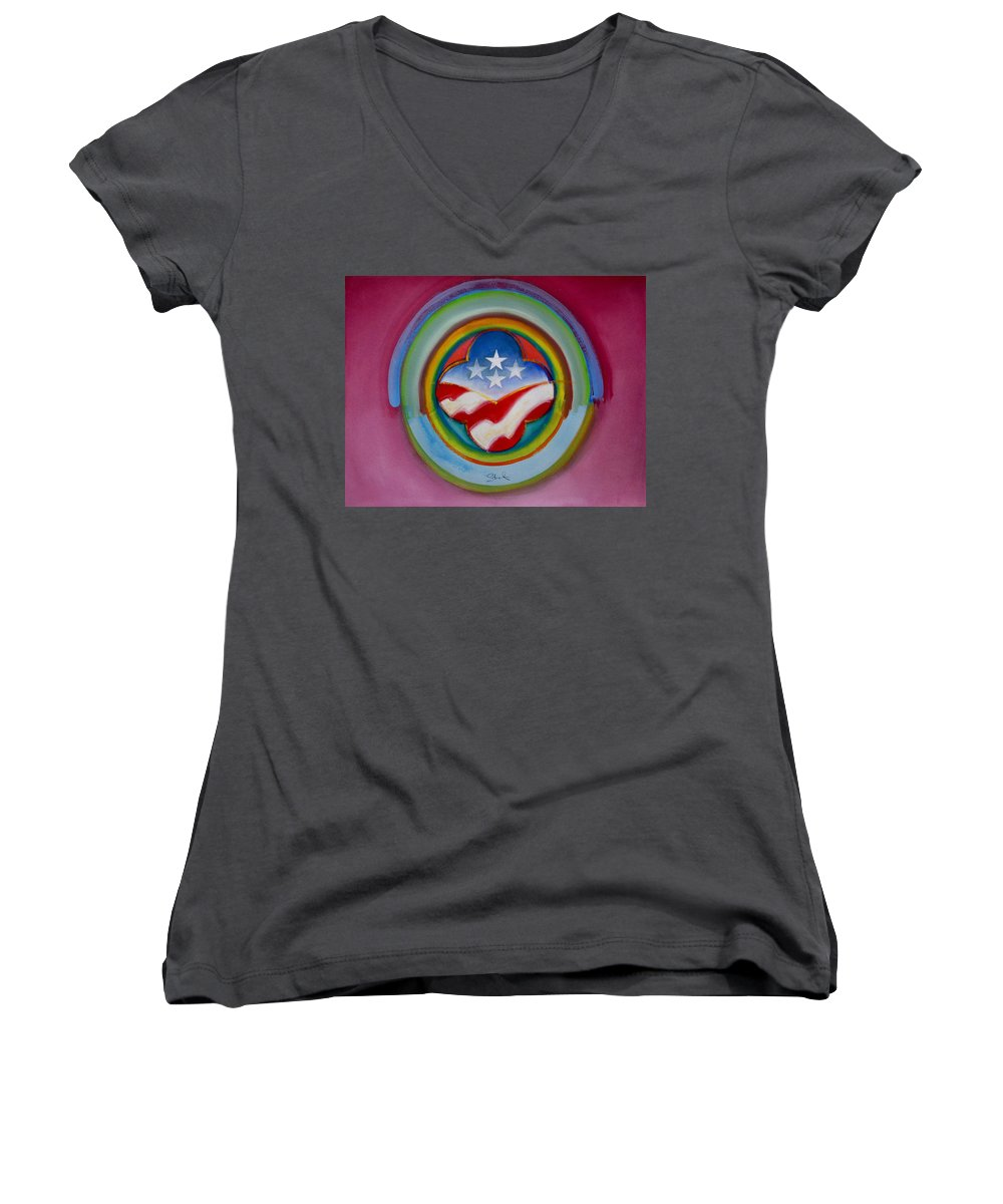 Button Women's V-Neck T-Shirt featuring the painting Four Star Button by Charles Stuart