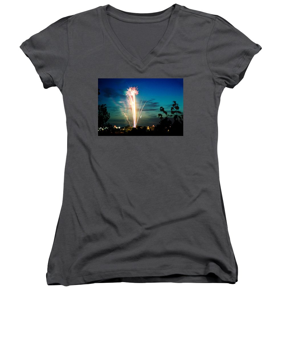Landscape Women's V-Neck T-Shirt featuring the photograph Fourth Of July by Steve Karol