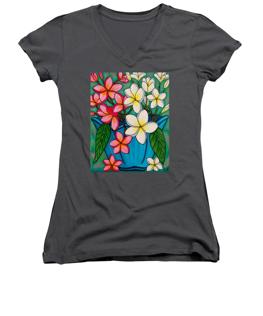 Frangipani Women's V-Neck (Athletic Fit) featuring the painting Frangipani Sawadee by Lisa Lorenz