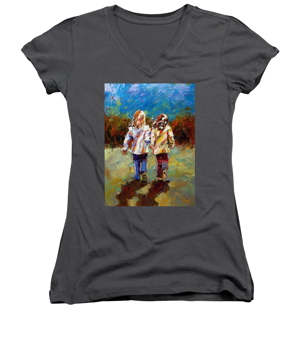 Girls Women's V-Neck T-Shirt featuring the painting Friends Forever by Debra Hurd