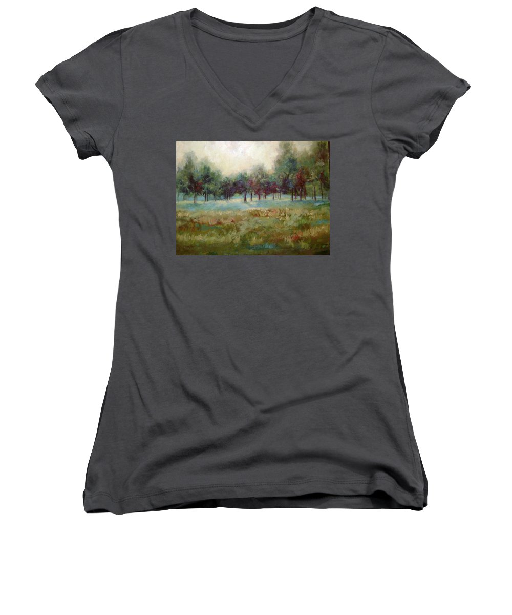 Country Scenes Women's V-Neck (Athletic Fit) featuring the painting From The Other Side by Ginger Concepcion