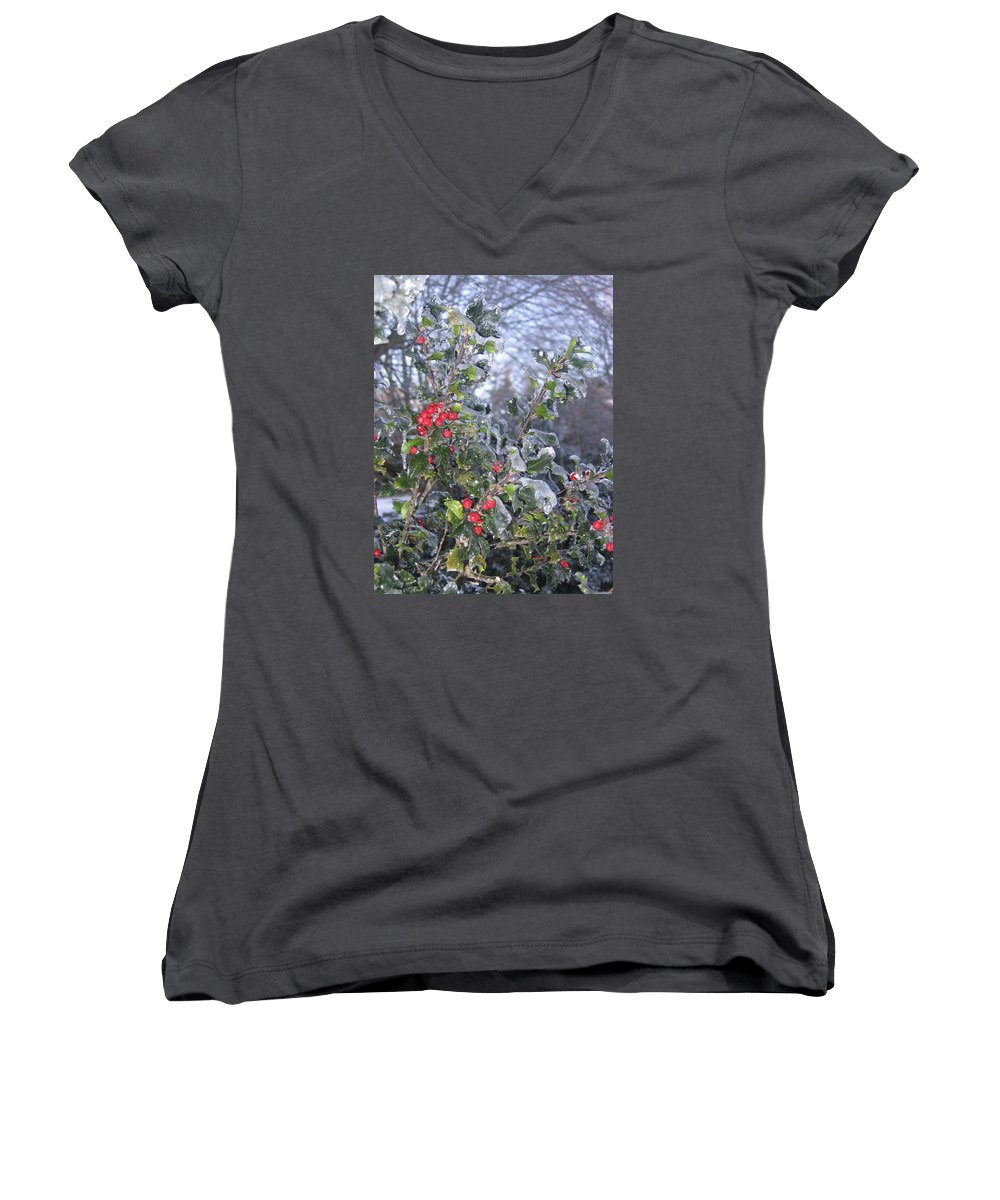 Winter Women's V-Neck T-Shirt featuring the photograph Frozen In Time by Paula Emery