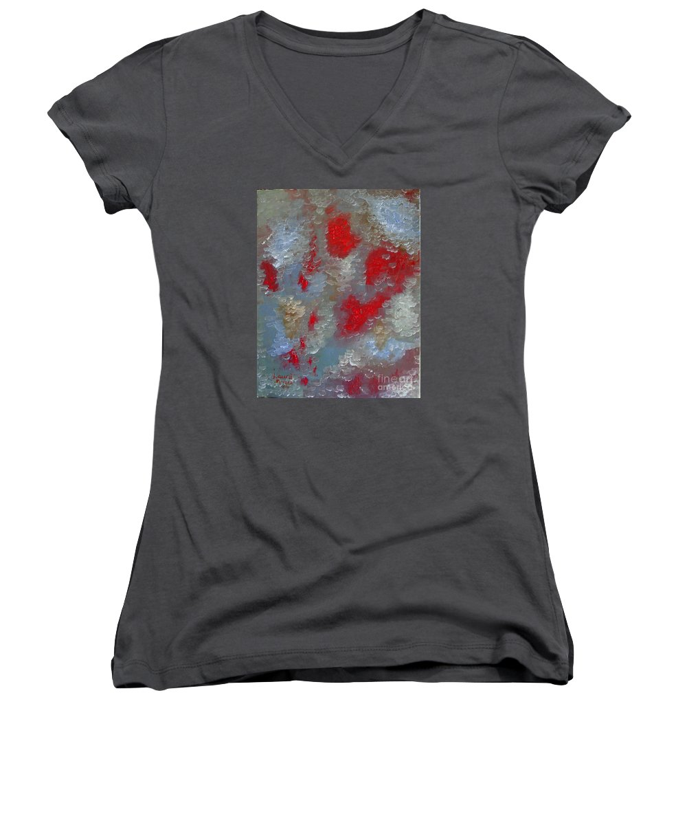 Abstract Women's V-Neck T-Shirt featuring the painting Frozen Street by Laurie Morgan