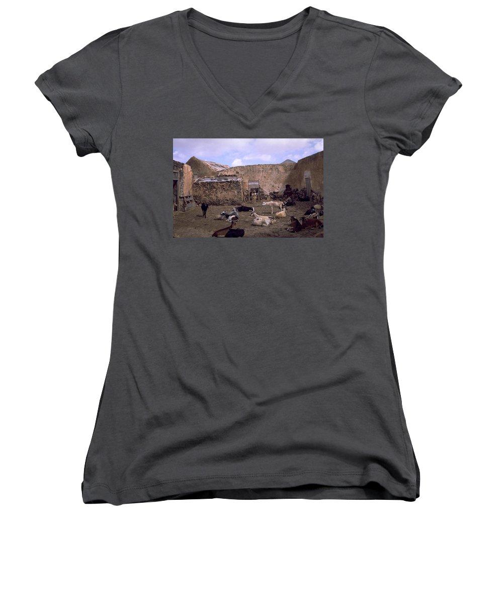 Fuerteventura Women's V-Neck T-Shirt featuring the photograph Fuerteventura IIi by Flavia Westerwelle