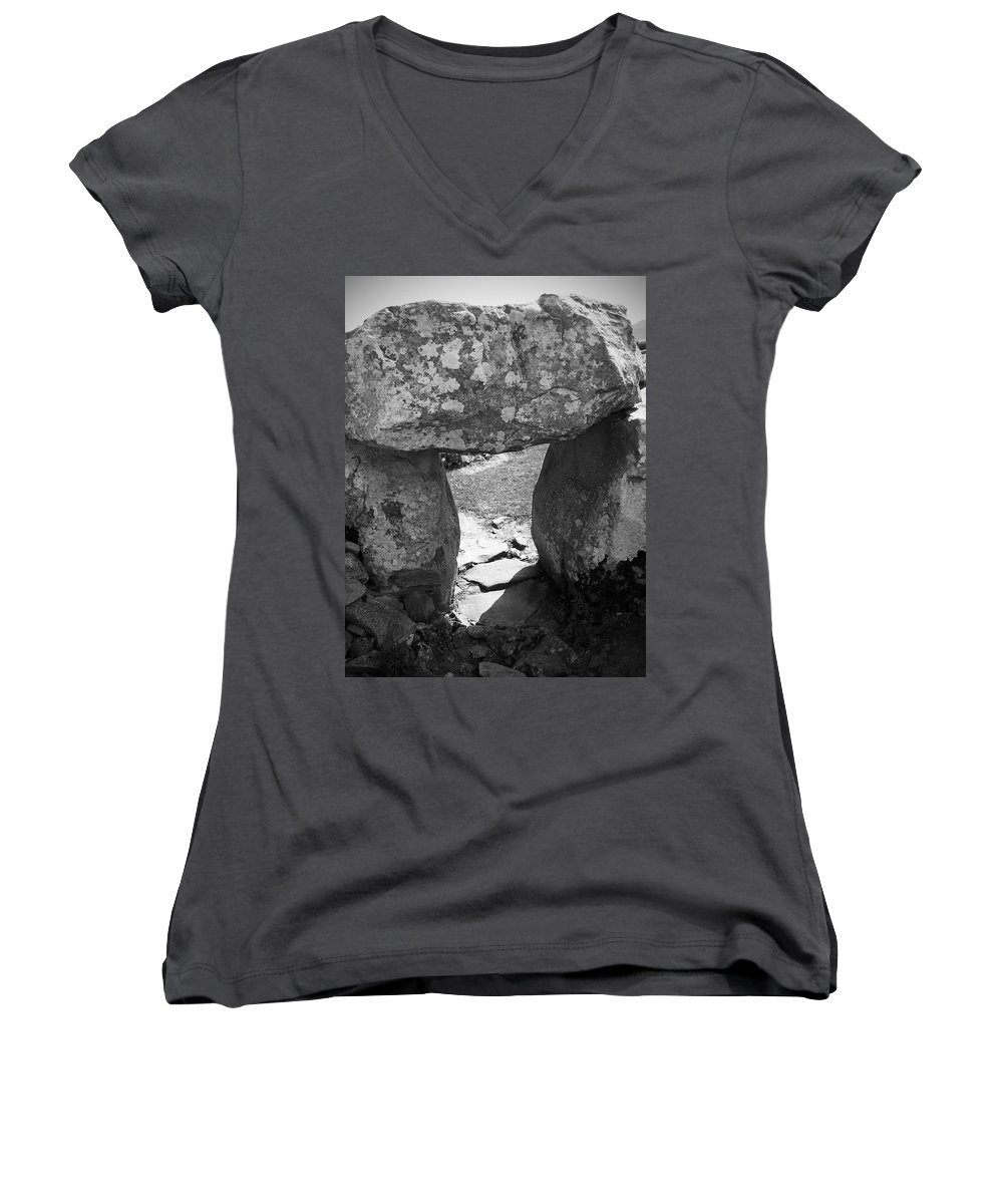 Ireland Women's V-Neck (Athletic Fit) featuring the photograph Gallery Entrance At Creevykeel Court Cairn Ireland by Teresa Mucha