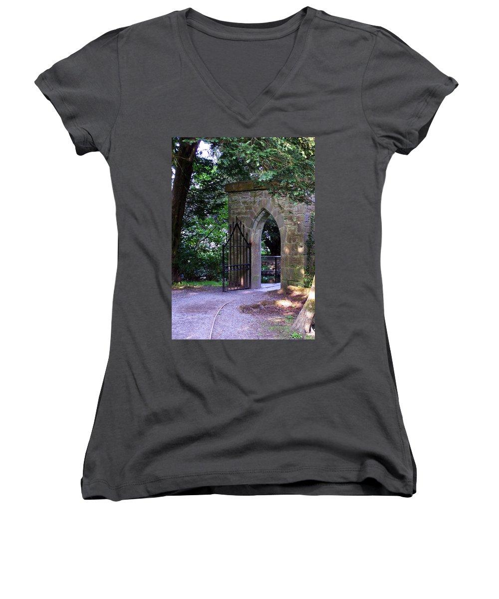Irish Women's V-Neck T-Shirt featuring the photograph Gate At Cong Abbey Cong Ireland by Teresa Mucha