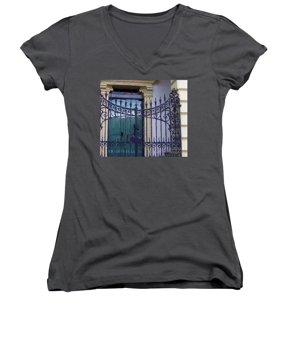 Gate Women's V-Neck T-Shirt featuring the photograph Gated by Debbi Granruth