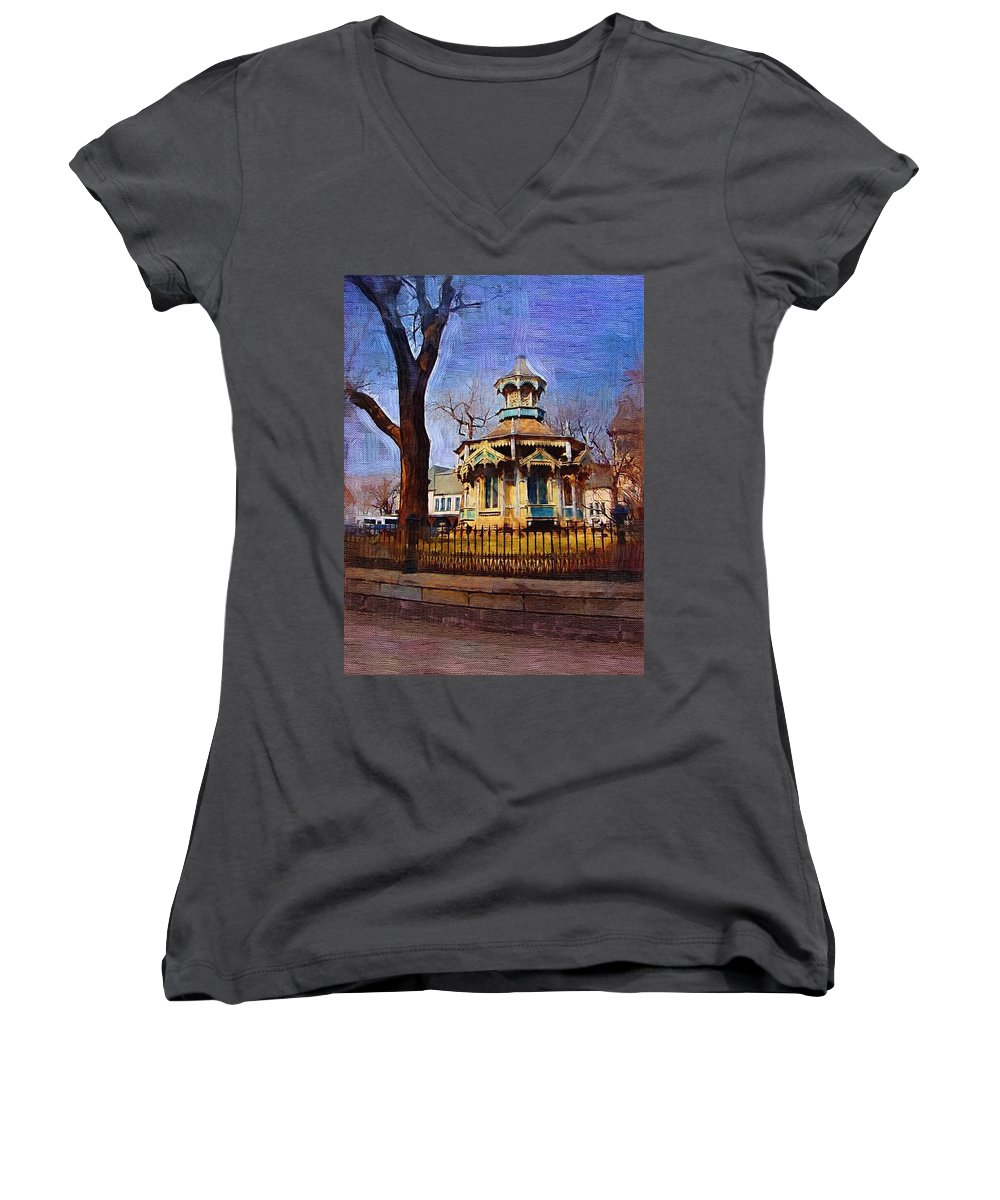 Architecture Women's V-Neck T-Shirt featuring the digital art Gazebo And Tree by Anita Burgermeister