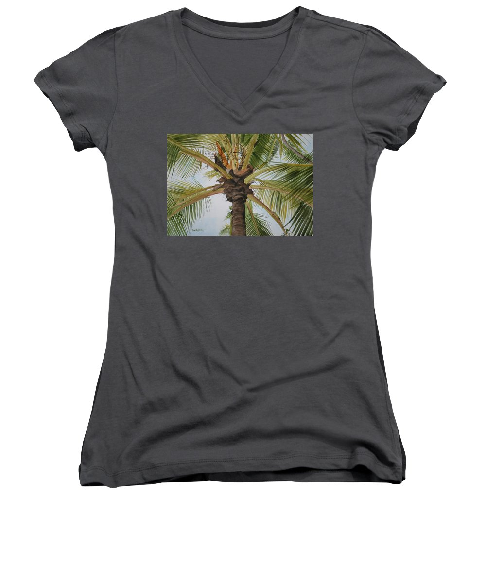 Palm Tree Women's V-Neck T-Shirt featuring the painting Gecko Heaven by Jean Blackmer