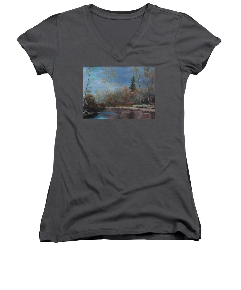 River Women's V-Neck (Athletic Fit) featuring the painting Gentle Stream - Lmj by Ruth Kamenev