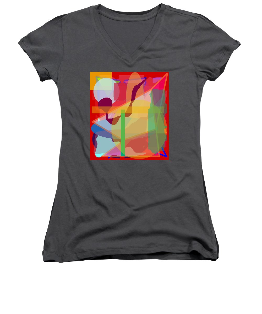 Abstract Women's V-Neck T-Shirt featuring the painting Geo Frenzy by Pharris Art