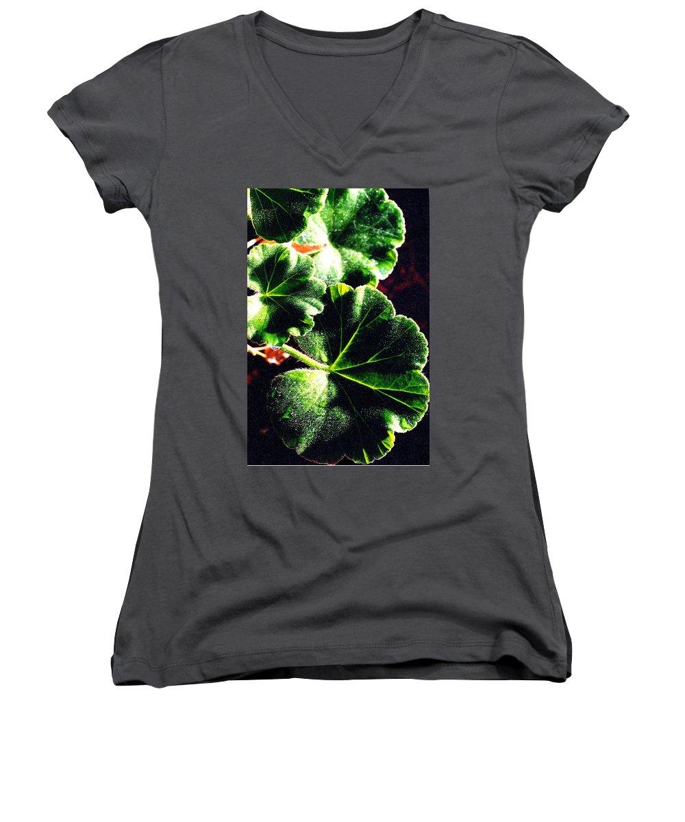Geraniums Women's V-Neck T-Shirt featuring the photograph Geranium Leaves by Nancy Mueller