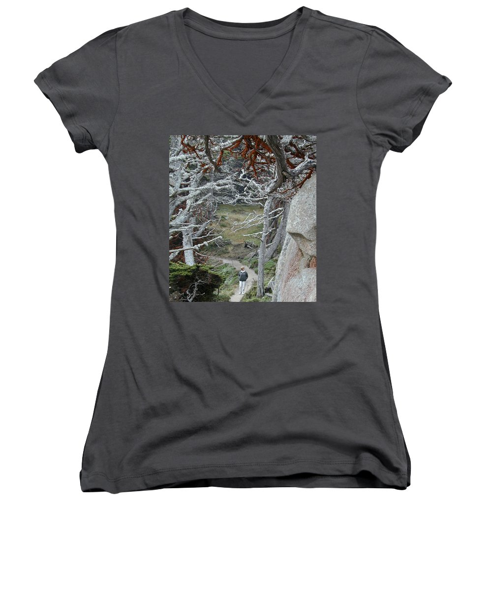 Lichens Women's V-Neck T-Shirt featuring the photograph Ghost Trees by Douglas Barnett