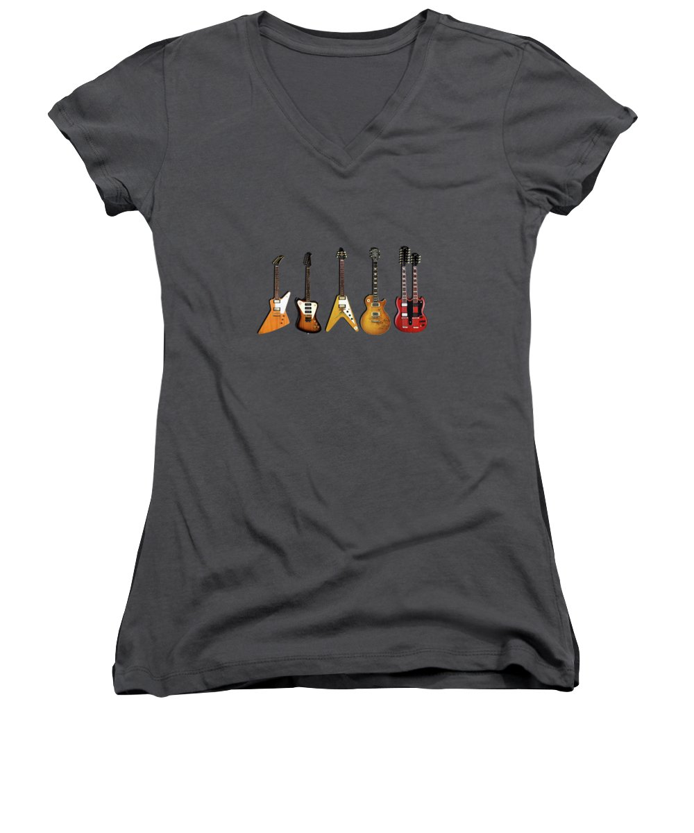 Gibson Women's V-Neck featuring the photograph Gibson Electric Guitar Collection by Mark Rogan