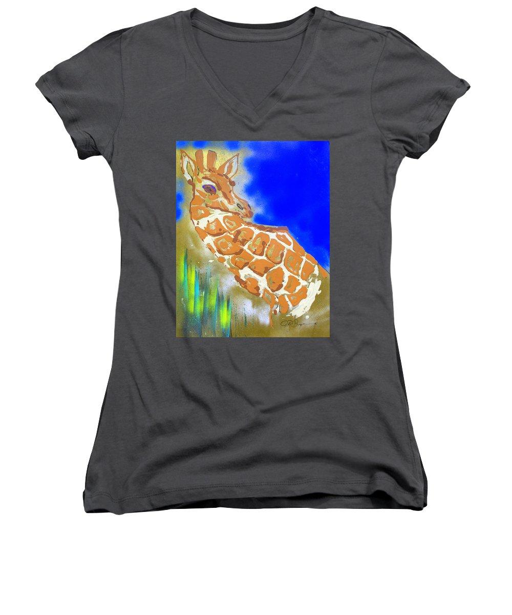 Giraffe Women's V-Neck T-Shirt featuring the painting Giraffe by J R Seymour