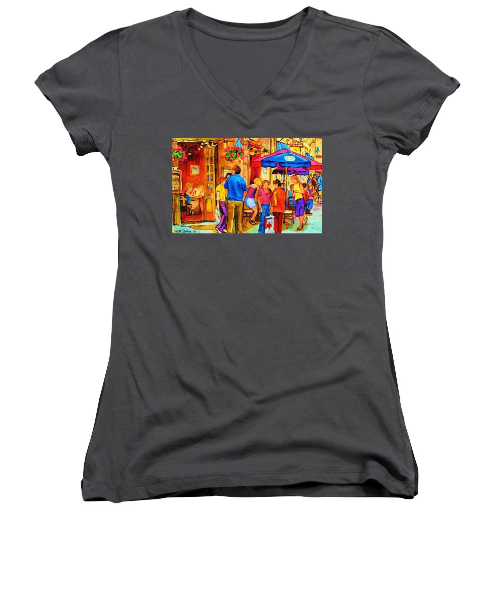 Montreal Cafe Scenes Women's V-Neck (Athletic Fit) featuring the painting Girl In The Cafe by Carole Spandau