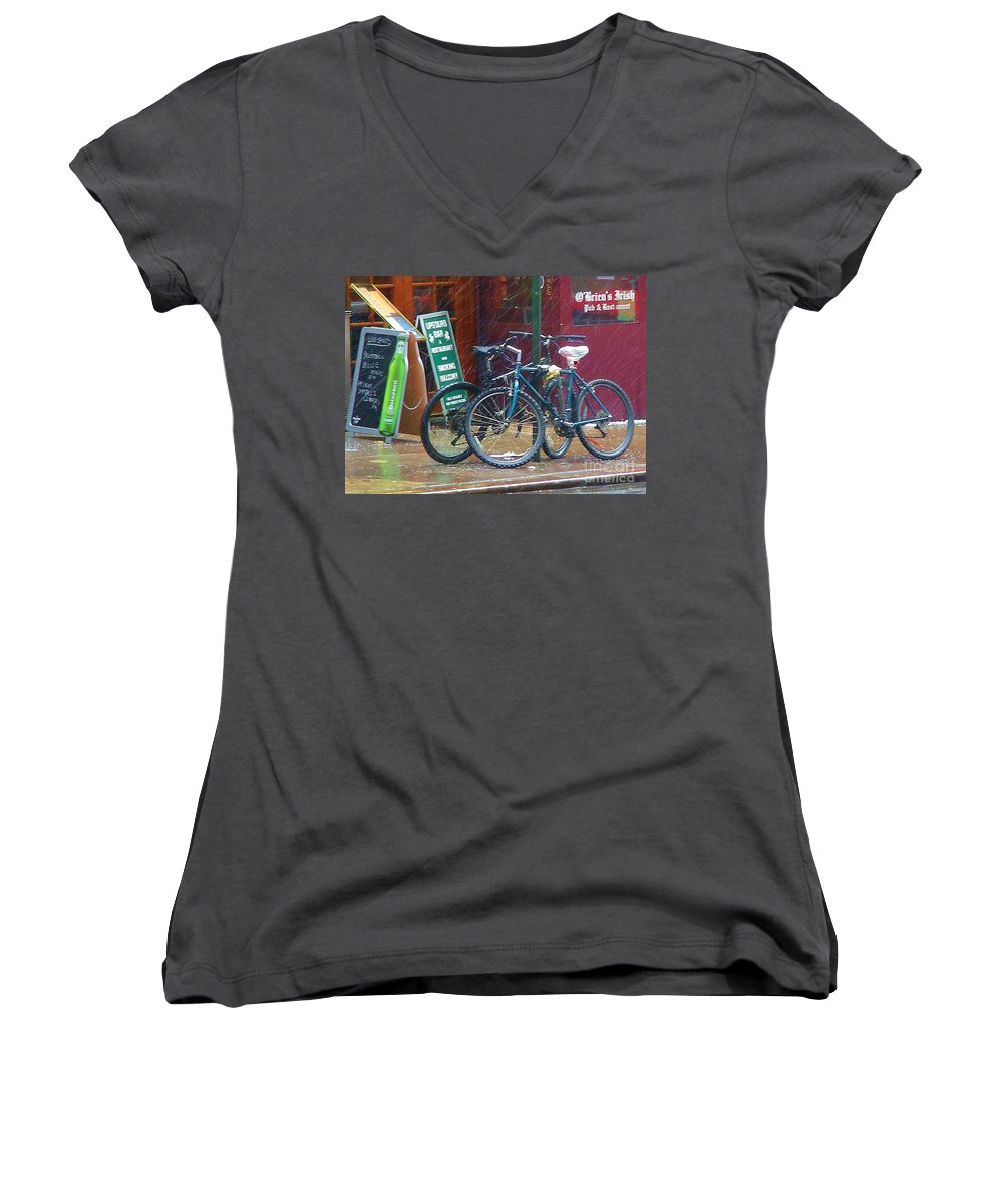 Bike Women's V-Neck (Athletic Fit) featuring the photograph Give Me Shelter by Debbi Granruth