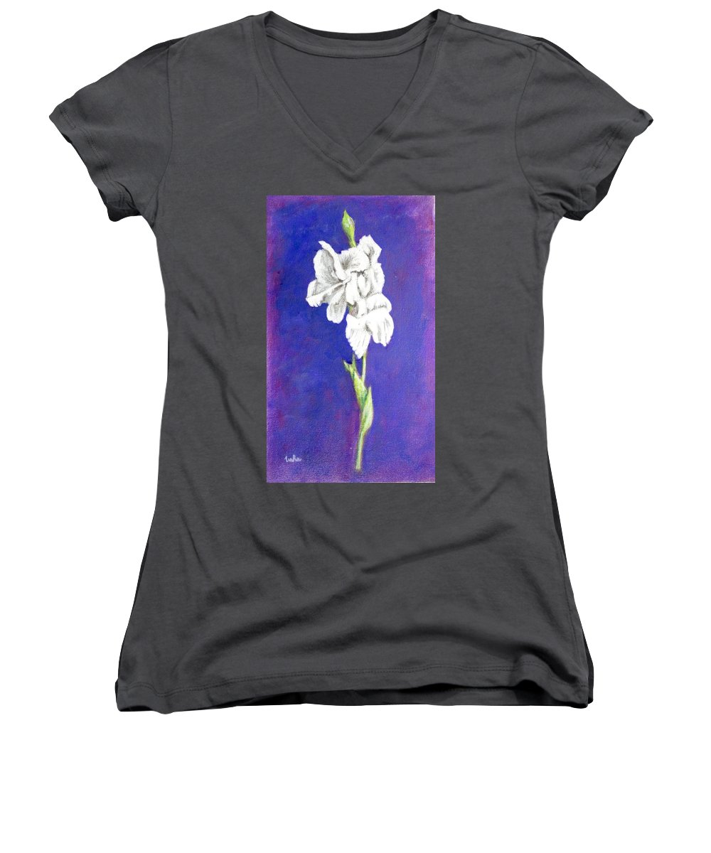 Women's V-Neck (Athletic Fit) featuring the painting Gladiolus 2 by Usha Shantharam