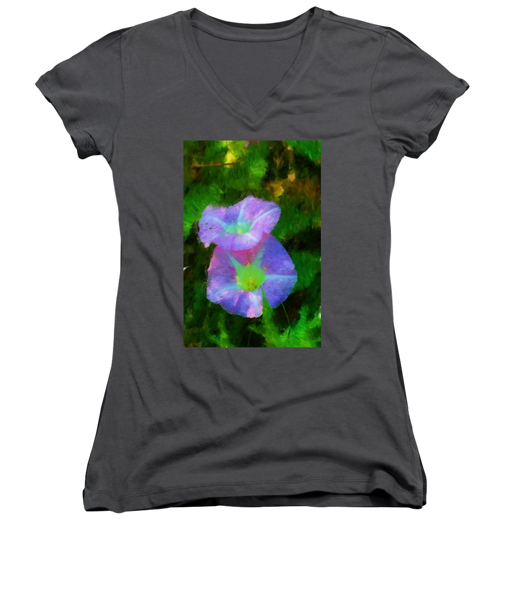 Floral Women's V-Neck (Athletic Fit) featuring the painting Gloria In The Shade by David Lane