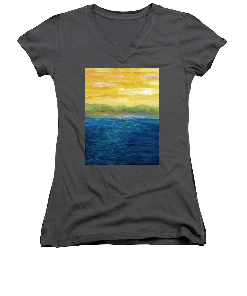 Lake Women's V-Neck T-Shirt featuring the painting Gold And Pink Sunset by Michelle Calkins