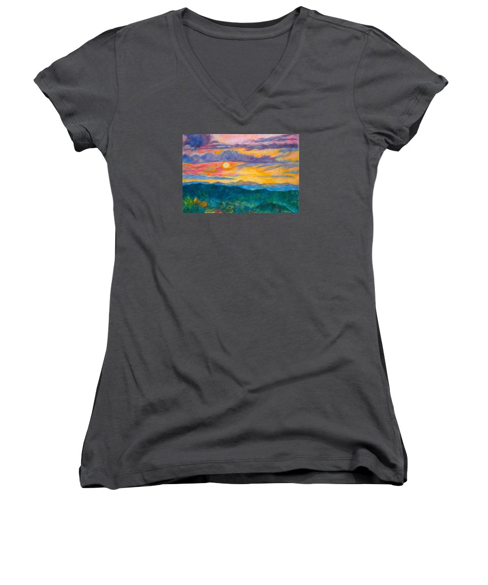 Landscape Women's V-Neck (Athletic Fit) featuring the painting Golden Blue Ridge Sunset by Kendall Kessler