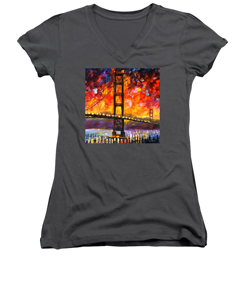 City Women's V-Neck T-Shirt featuring the painting Golden Gate Bridge by Leonid Afremov