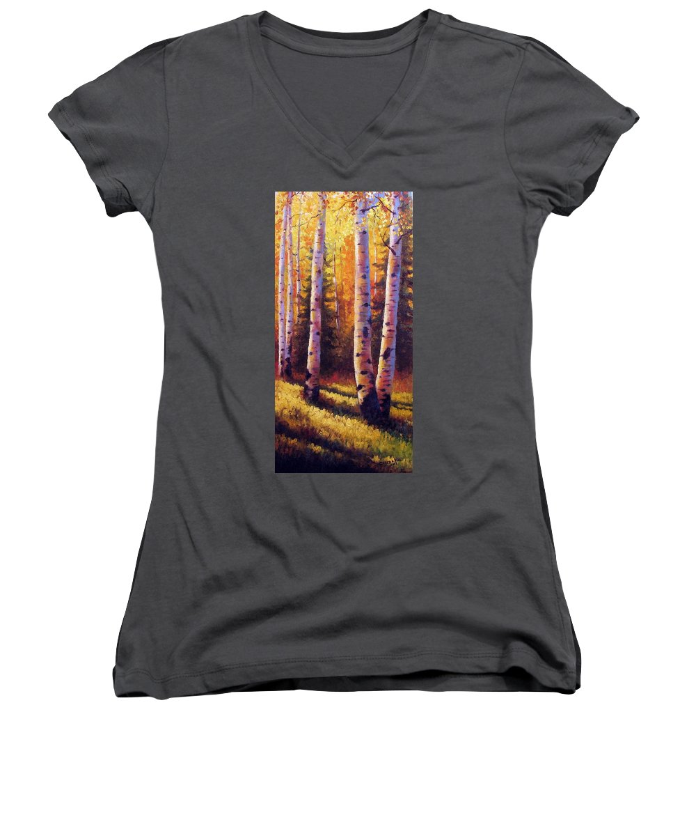 Light Women's V-Neck (Athletic Fit) featuring the painting Golden Light by David G Paul