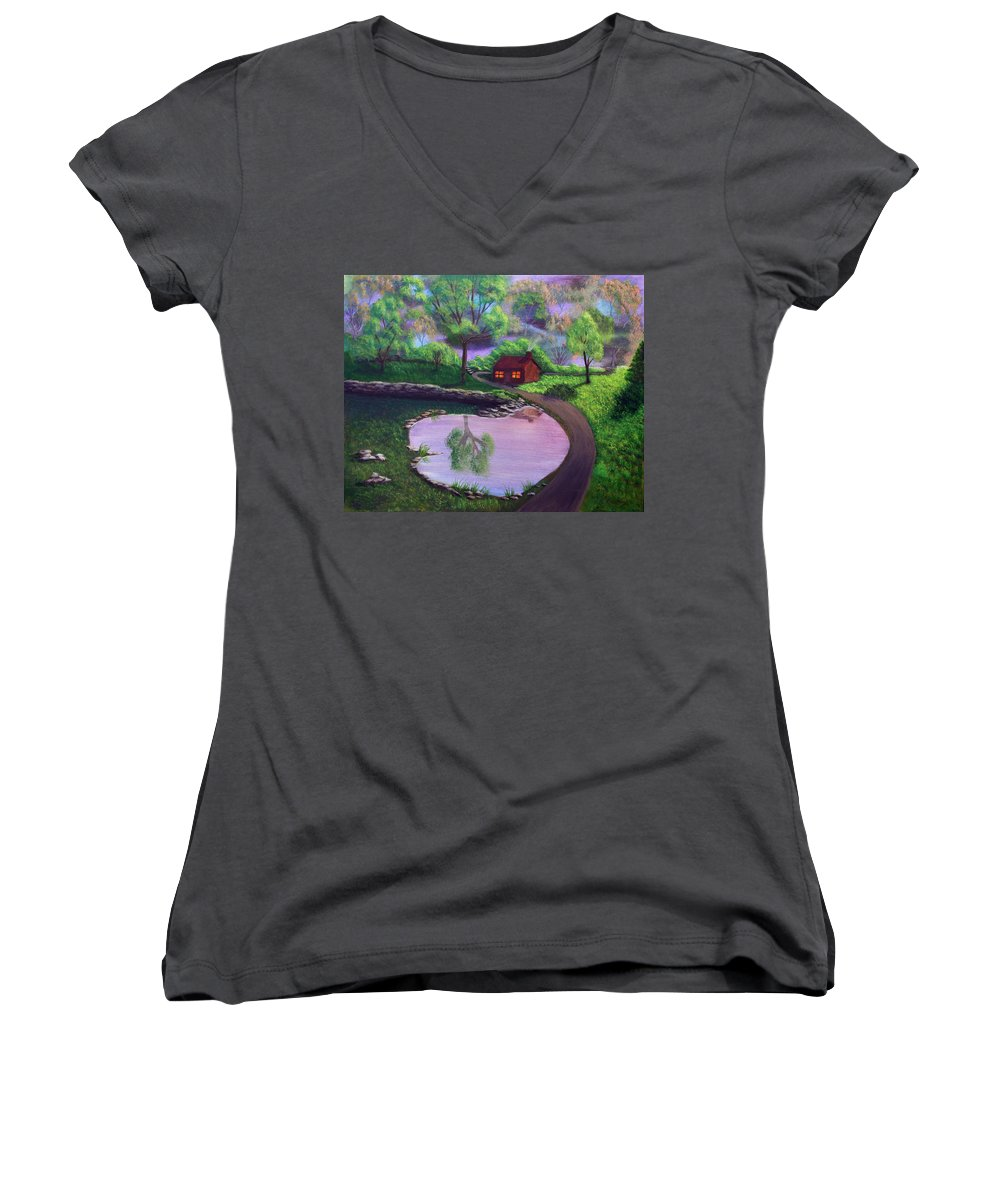 Light Women's V-Neck T-Shirt featuring the painting Good Spring Morning by Dawn Blair