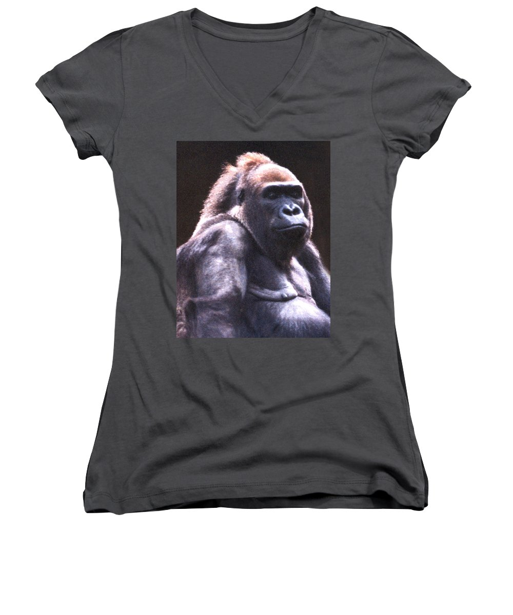 Gorilla Women's V-Neck (Athletic Fit) featuring the photograph Gorilla by Steve Karol