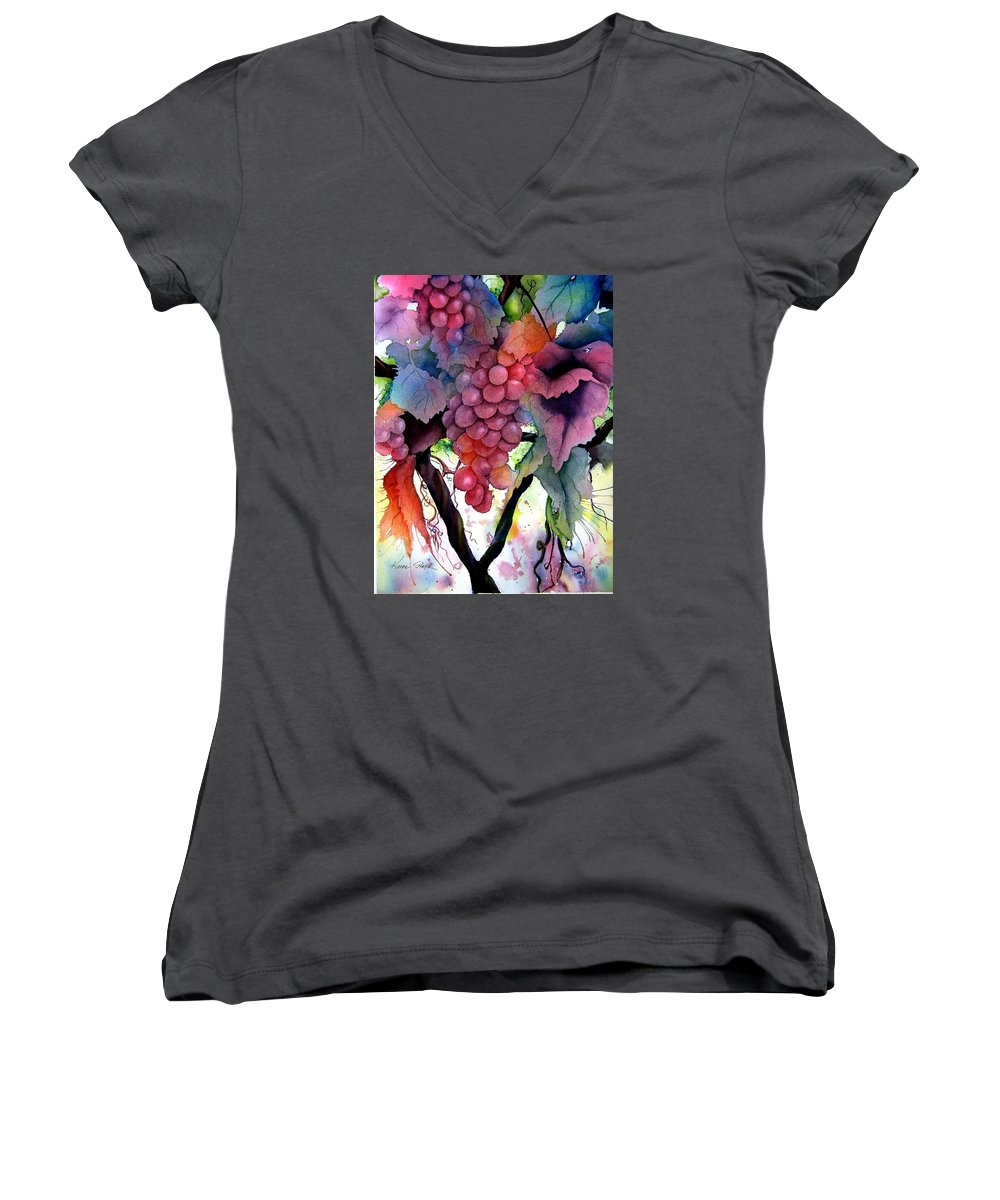 Grape Women's V-Neck T-Shirt featuring the painting Grapes IIi by Karen Stark