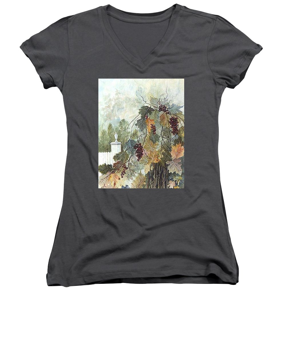 Fruit Women's V-Neck T-Shirt featuring the painting Grapevine Topiary by Ben Kiger