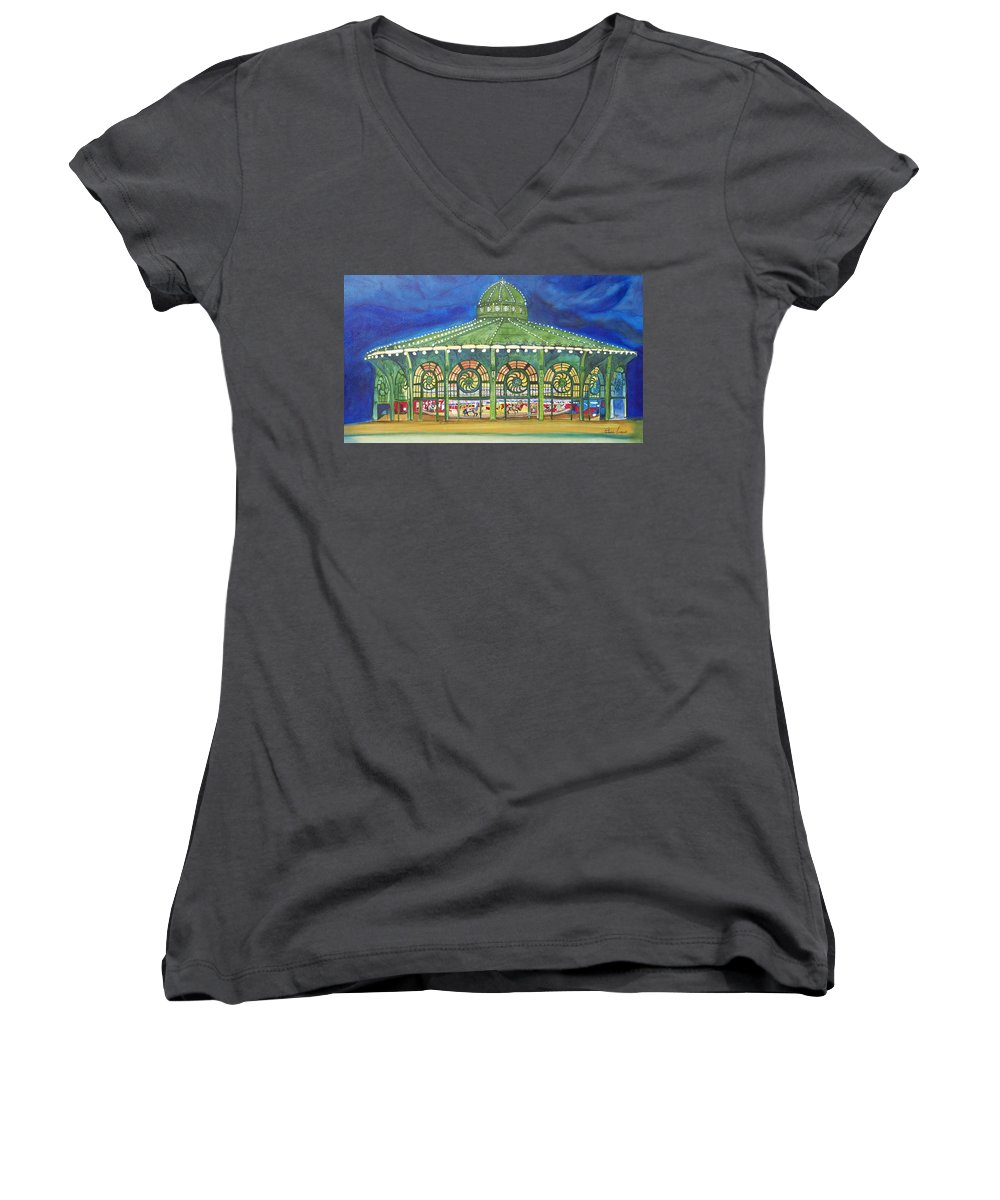 Night Paintings Of Asbury Park Women's V-Neck T-Shirt featuring the painting Grasping The Memories by Patricia Arroyo