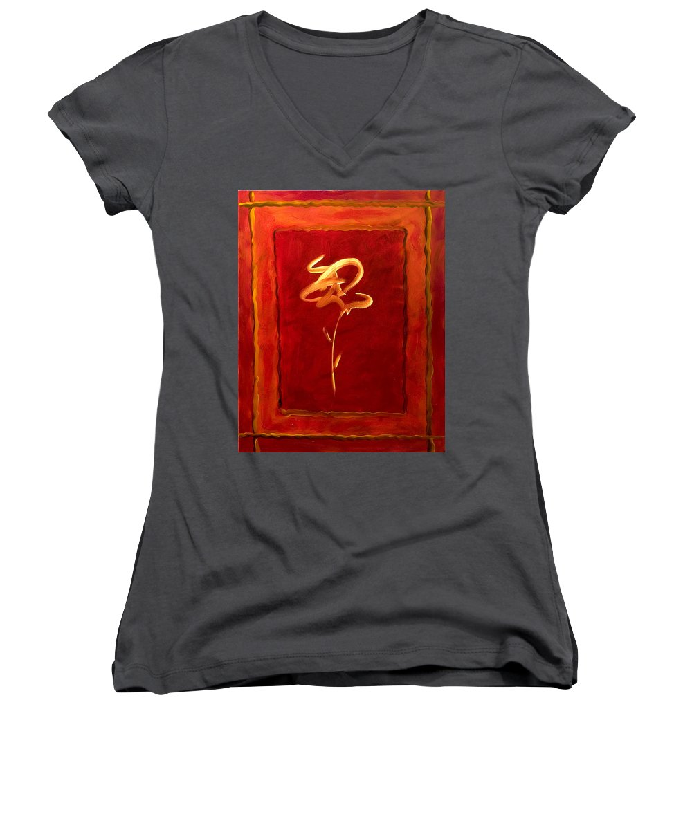 Abstract Flower Women's V-Neck T-Shirt featuring the painting Gratitude by Shannon Grissom