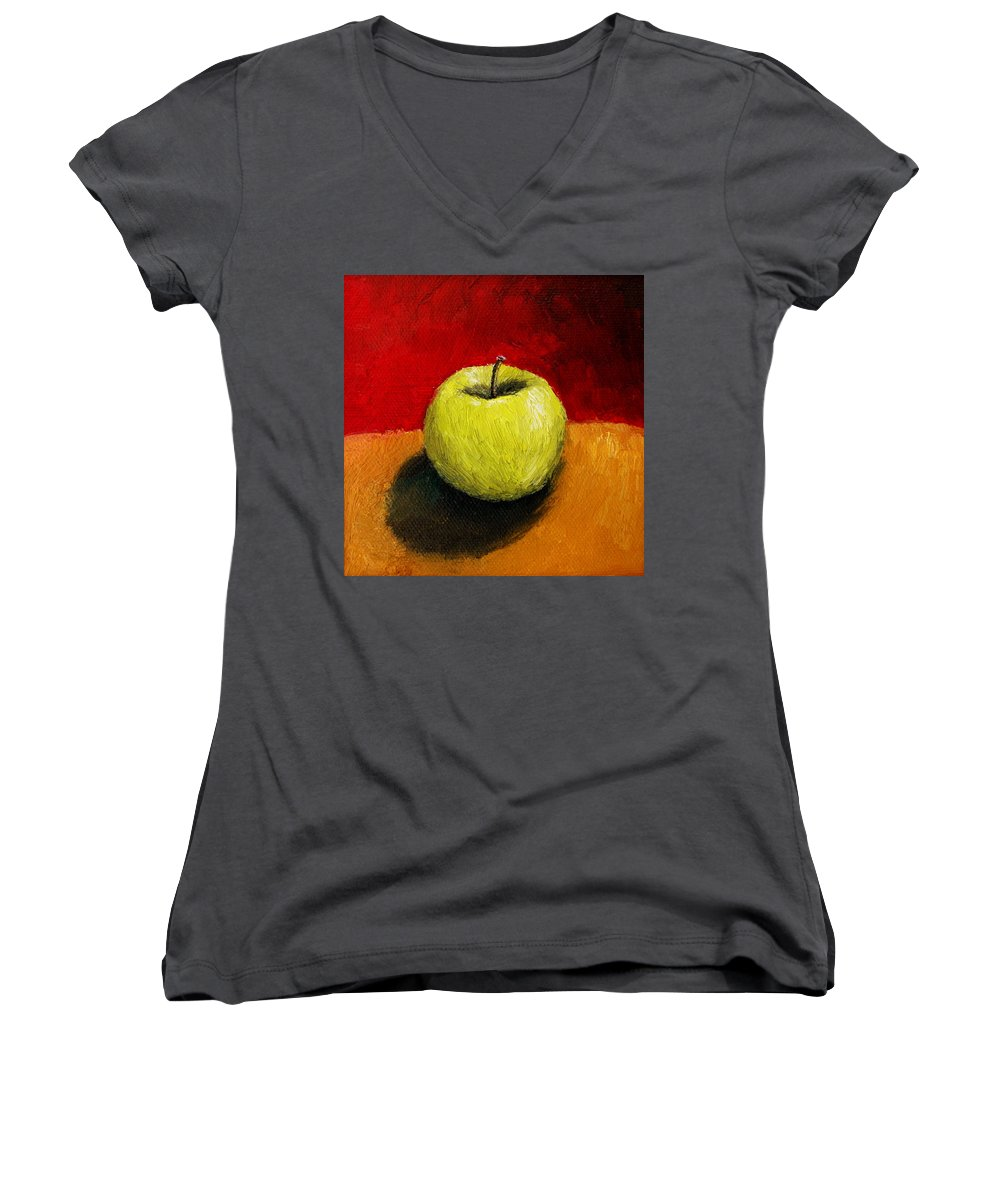 Apple Women's V-Neck (Athletic Fit) featuring the painting Green Apple With Red And Gold by Michelle Calkins