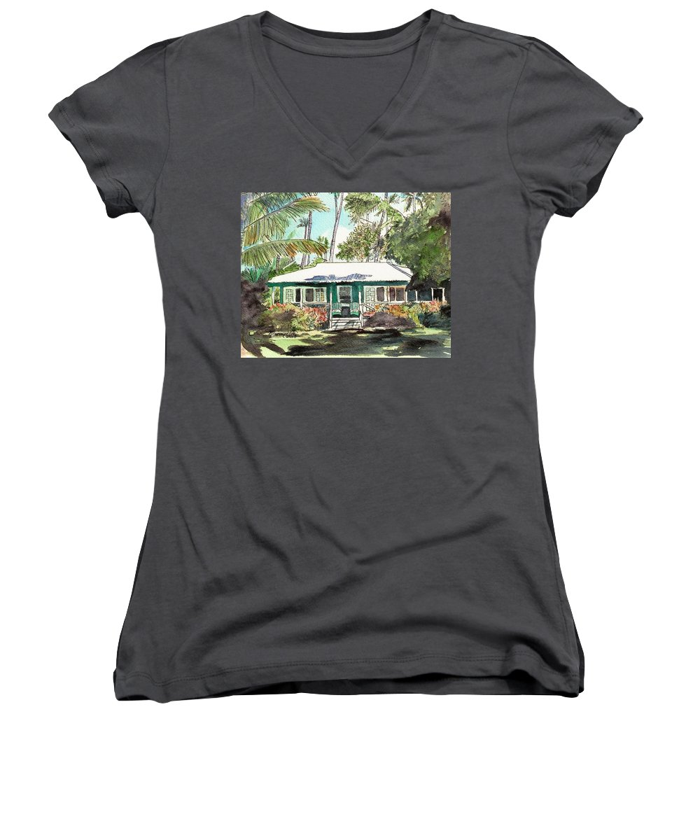 Cottage Women's V-Neck T-Shirt featuring the painting Green Cottage by Marionette Taboniar
