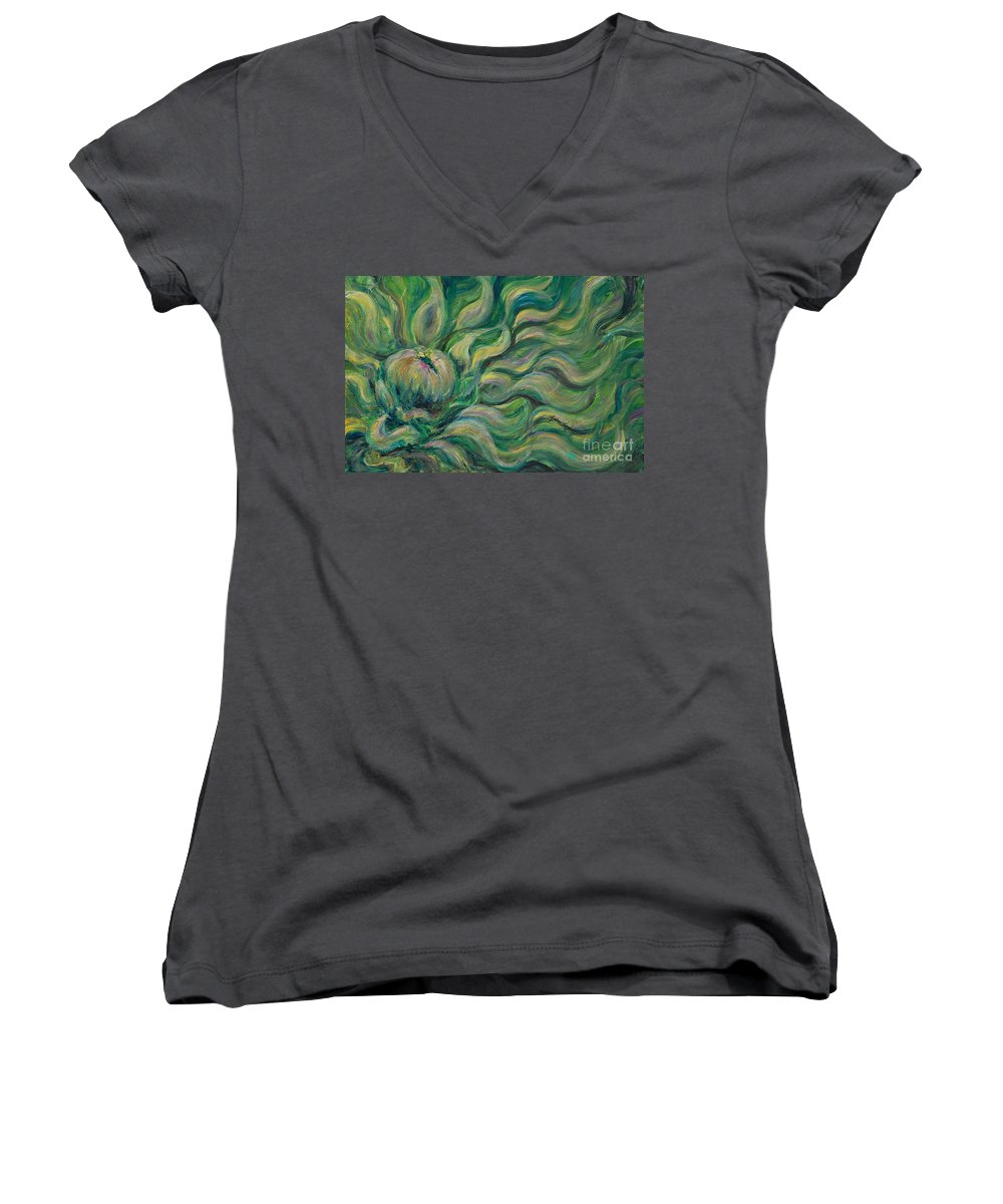 Green Women's V-Neck T-Shirt featuring the painting Green Flowing Flower by Nadine Rippelmeyer