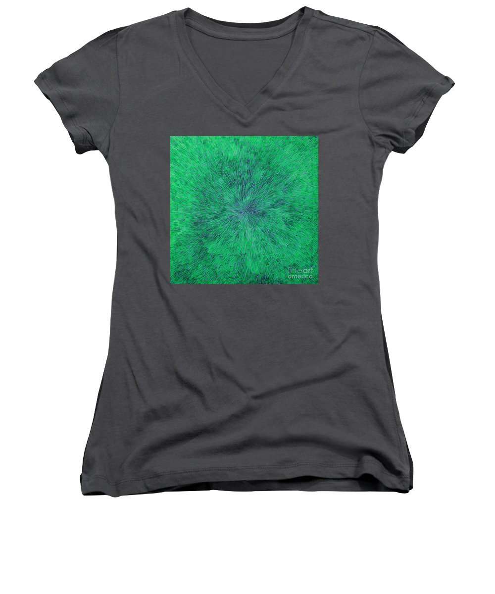 Abstract Women's V-Neck T-Shirt featuring the painting Green Radation With Violet by Dean Triolo