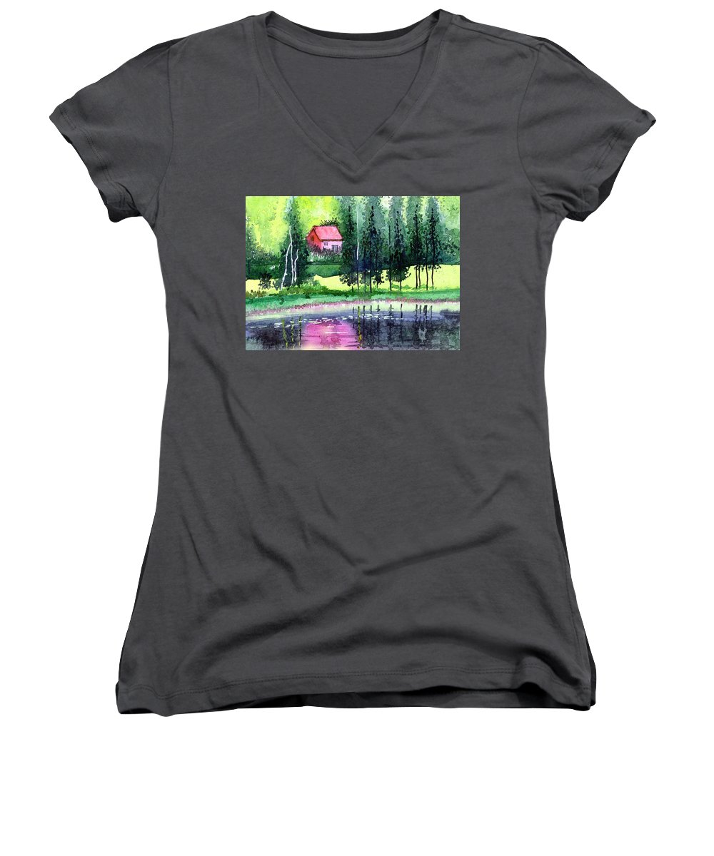 Landscape Women's V-Neck T-Shirt featuring the painting Guest House by Anil Nene