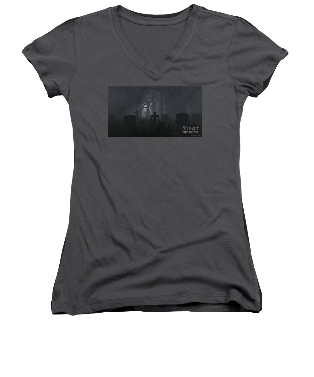 Death Women's V-Neck T-Shirt featuring the digital art Guiding Light by Richard Rizzo