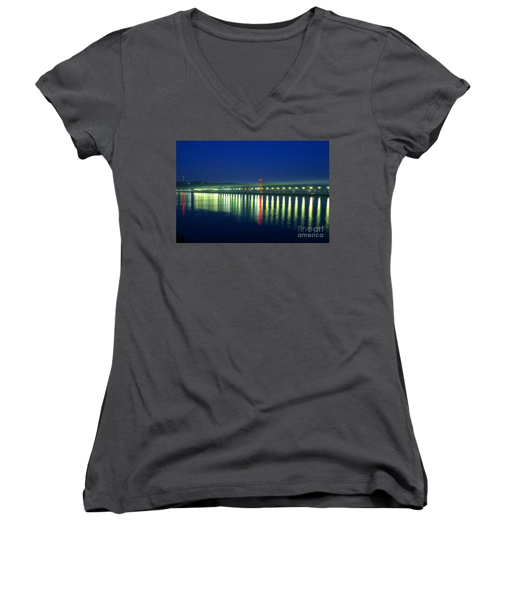 Pier Women's V-Neck (Athletic Fit) featuring the photograph Guiding Light by Robert Pearson